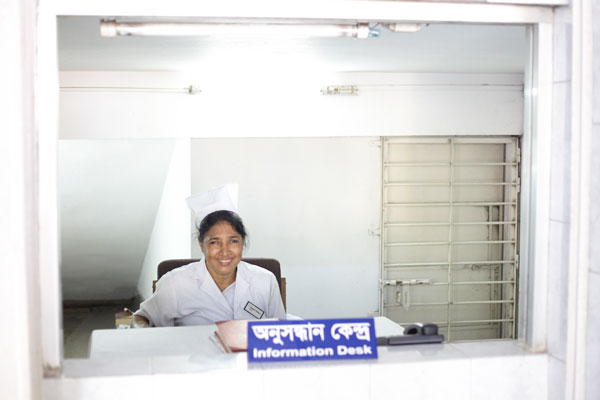 the lovely receptionist at the information desk of the ispahani islamia eye institute and hospital in bangladesh she is one of many talented and caring